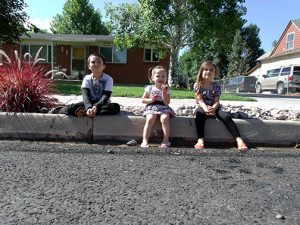 Lucas, Layle & Khryslee Price, My kids were pretty content sitting on the curb playing with rocks in the ditch. We had a pretty good time.