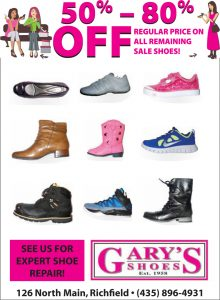 Advertisement design by Graphic Artist Dallas Price for Gary's Shoes. Published in The Richfield Reaper 01/01/2014.