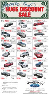 Advertisement design by Graphic Artist Dallas Price for Jorgensen Ford. Published in The Richfield Reaper 01/01/2014.