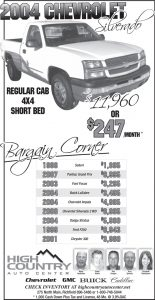 Advertisement design by Graphic Artist Dallas Price for High Country Auto. Published in The Richfield Reaper 01/09/2013.