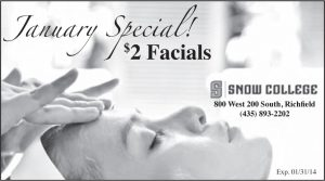 Advertisement design by Graphic Artist Dallas Price for Snow College Cosmetology. Published in The Richfield Reaper 01/22/2014.
