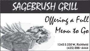 Advertisement design by Graphic Artist Dallas Price for Sagebrush Grill. Published in The Richfield Reaper 01/29/2014.