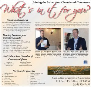 Advertisement design by Graphic Artist Dallas Price for Salina Chamber of Commerce. Published in The Richfield Reaper 01/29/2014.