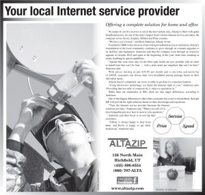 Advertisement design by Graphic Artist Dallas Price for AltaZip. Published in The Richfield Reaper 01/30/2013.