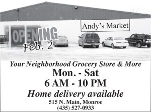 Advertisement design by Graphic Artist Dallas Price for Andy's Market. Published in The Richfield Reaper 01/30/2013.