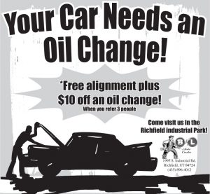 Advertisement design by Graphic Artist Dallas Price for B&L Auto. Published in The Richfield Reaper 02/05/2014.