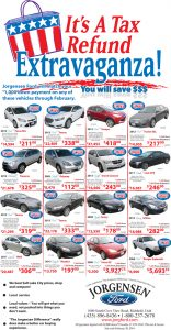 Advertisement design by Graphic Artist Dallas Price for Jorgensen Ford. Published in The Richfield Reaper 02/05/2014.