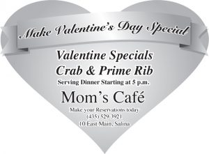 Advertisement design by Graphic Artist Dallas Price for Mom's Cafe. Published in The Richfield Reaper 02/12/2014.