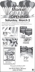 Advertisement design by Graphic Artist Dallas Price for Andy's Market. Published in The Richfield Reaper 02/27/2013.