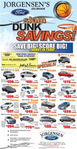 Advertisement design by Graphic Artist Dallas Price for Jorgensen Ford. Published in The Richfield Reaper 03/05/2014.