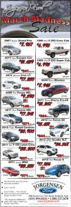 Advertisement design by Graphic Artist Dallas Price for Jorgensen Ford. Published in The Richfield Reaper 03/06/2013.