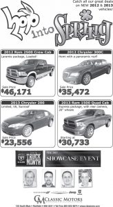 Advertisement design by Graphic Artist Dallas Price for Classic Motors. Published in The Richfield Reaper 03/13/2013.