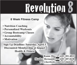 Advertisement design by Graphic Artist Dallas Price for Impact Fitness. Published in The Richfield Reaper 03/19/2014.