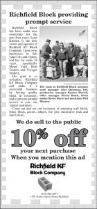 Advertisement design by Graphic Artist Dallas Price for Richfield KF Block. Published in The Richfield Reaper 03/20/2013.