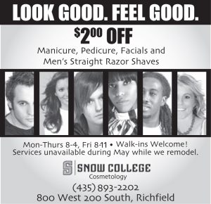 Advertisement design by Graphic Artist Dallas Price for Snow College Cosmetology. Published in The Richfield Reaper 03/20/2013.