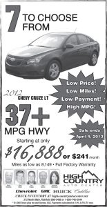 Advertisement design by Graphic Artist Dallas Price for High Country Auto. Published in The Richfield Reaper 03/27/2013.