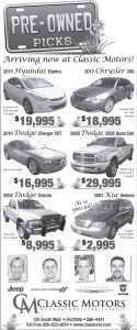 Advertisement design by Graphic Artist Dallas Price for Classic Motors. Published in The Richfield Reaper04/02/2014.