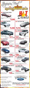 Advertisement design by Graphic Artist Dallas Price for Jorgensen Ford. Published in The Richfield Reaper 04/03/2013.