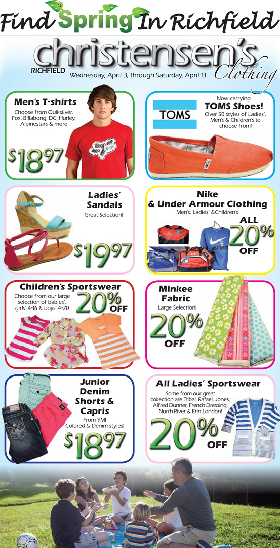 Advertisement design by Graphic Artist Dallas Price for Christensens. Published in The Richfield Reaper 04/03/2013.