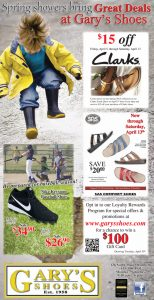 Advertisement design by Graphic Artist Dallas Price for Gary's Shoes. Published in The Richfield Reaper 04/03/2013.