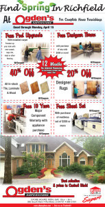 Advertisement design by Graphic Artist Dallas Price for Ogden's. Published in The Richfield Reaper 04/03/2013.