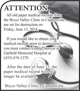 Advertisement design by Graphic Artist Dallas Price for Garfield Memorial Hospital. Published in The Richfield Reaper 05/24/2014.