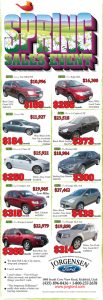 Advertisement design by Graphic Artist Dallas Price for Jorgensen Ford. Published in The Richfield Reaper 05/15/2013.