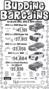 Advertisement design by Graphic Artist Dallas Price for Classic Motors. Published in The Richfield Reaper 05/22/2013.