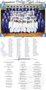 Gunnison Valley High School Graduation page designed by Graphic Artist Dallas Price. Published in The Richfield Reaper 05/22/2013.