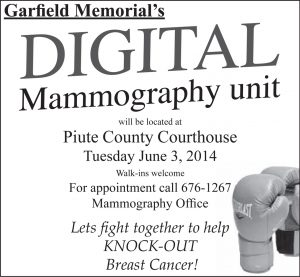 Advertisement design by Graphic Designer Dallas Price for Garfield Memorial Hospital. Published in The Richfield Reaper 05/28/2014.