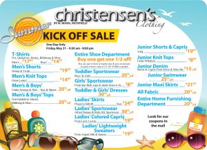 Advertisement design by Graphic Artist Dallas Price for Christensen's Clothing. Published in The Richfield Reaper 05/29/2013.