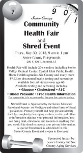 Advertisement design by Graphic Artist Dallas Price for Sevier County. Published in The Richfield Reaper 05/29/2013.