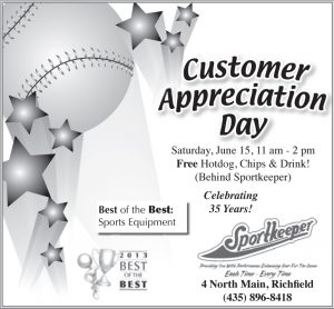 Advertisement design by Graphic Artist Dallas Price for Sportkeeper. Published in The Richfield Reaper 05/29/2013.