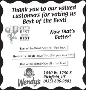 Advertisement design by Graphic Artist Dallas Price for Wendy's. Published in The Richfield Reaper 05/29/2013.