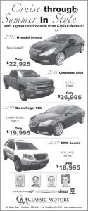 Advertisement design by Graphic Artist Dallas Price for Classic Motors. Published in The Richfield Reaper 06/12/2013.