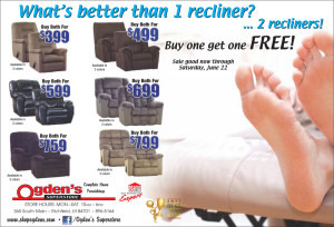 Advertisement design by Graphic Artist Dallas Price for Ogden's Superstore. Published in The Richfield Reaper 06/12/2013.