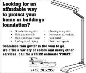 Advertisement design by Graphic Artist Dallas Price for Performance Raingutter. Published in The Richfield Reaper 06/12/2013.