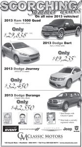 Advertisement design by Graphic Artist Dallas Price for Classic Motors. Published in The Richfield Reaper 06/19/2013.