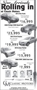 Advertisement design by Graphic Artist Dallas Price for Classic Motors. Published in The Richfield Reaper 06/26/2013.