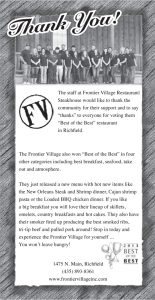 Advertisement design by Graphic Artist Dallas Price for Frontier Village Published in The Richfield Reaper 06/26/2013.