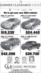 Advertisement design by Graphic Artist Dallas Price for Classic Motors. Published in The Richfield Reaper 07/03/2013.