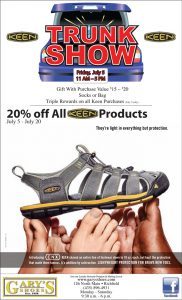 Advertisement design by Graphic Artist Dallas Price for Gary's Shoes. Published in The Richfield Reaper 07/03/2013.