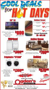 Advertisement design by Graphic Artist Dallas Price for Ogden's Superstore. Published in The Richfield Reaper 07/10/2013.