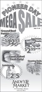 Advertisement design by Graphic Artist Dallas Price for Andy's Market. Published in The Richfield Reaper 07/17/2013