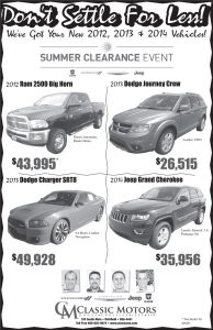 Advertisement design by Graphic Artist Dallas Price for Classic Motors. Published in The Richfield Reaper 07/17/2013.