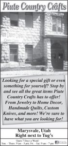 Advertisement design by Graphic Artist Dallas Price for Piute Country Crafts. Published in The Richfield Reaper 07/24/2013.