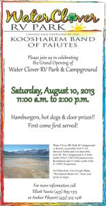 Advertisement design by Graphic Artist Dallas Price for Water Clover RV Park. Published in The Richfield Reaper 08/07/2013.