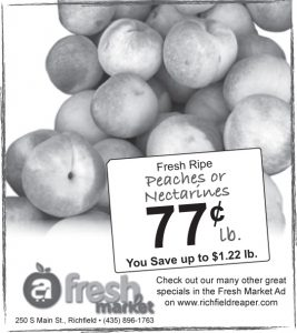 Advertisement design by Graphic Artist Dallas Price for Fresh Market. Published in The Richfield Reaper 08/21/2013.