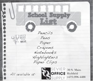 Advertisement design by Graphic Artist Dallas Price for Sevier Office Supply. Published in The Richfield Reaper 08/21/2013.