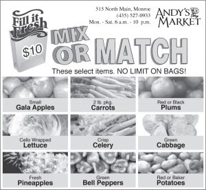 Advertisement design by Graphic Artist Dallas Price for Andy's Market. Published in The Richfield Reaper 09/04/2013.